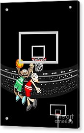 A Basketball Player Jumps To Throw The Ball While His Opponent Tries To Block His Shot Acrylic Print