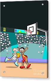 A Basketball Player Trying To Evade The Rival Team's Defense Acrylic Print