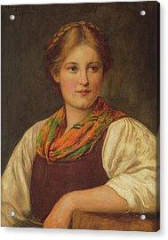 A Bavarian Peasant Girl Acrylic Print by Franz von Defregger