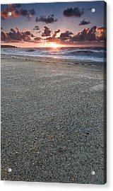 A Beach During Sunset With Glowing Sky Acrylic Print by Ulrich Schade
