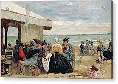 A Beach Scene Acrylic Print by Eugene Louis Boudin