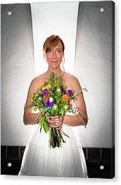 A Beautiful Backlit Bride And Her Bouquet Acrylic Print