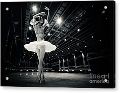 Acrylic Print featuring the photograph A Beautiful Ballerina Dancing In Studio by Dimitar Hristov