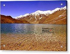 A Beautiful Lake On Himalayas Of Unforgetable Himachal In Incredible IIndia Acrylic Print by Sundeep Bhardwaj Kullu sundeepkulluDOTcom