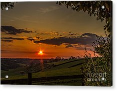 A Beautiful Sunset Over The Surrey Hills Acrylic Print