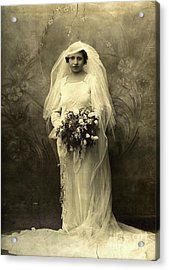 A Beautiful Vintage Photo Of Coloured Colored Lady In Her Wedding Dress Acrylic Print by R Muirhead Art