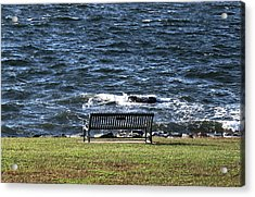 Acrylic Print featuring the photograph A Bench By The Sea by Tom Prendergast