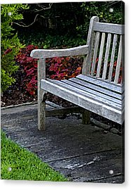 A Bench In The Garden Acrylic Print