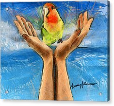 A Bird In Two Hands Acrylic Print by Anthony Caruso