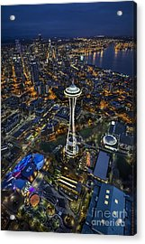 A Birds-eye View Of Seattle Acrylic Print by Roman Kurywczak