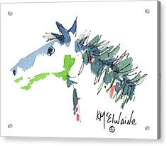 A Blue Roan Horse Watercolor Painting By Kmcelwaine Acrylic Print