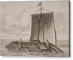 A Bolsa Wood Raft From South America Acrylic Print by Vintage Design Pics