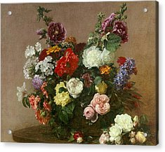A Bouquet Of Mixed Flowers Acrylic Print by Ignace Henri Jean Fantin-Latour