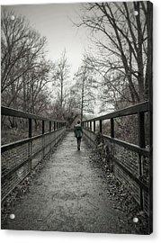 A Boy On A Bridge  Acrylic Print