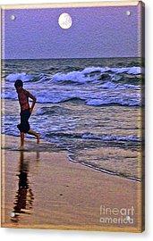 A Boy's Beach Run Acrylic Print by Lydia Holly