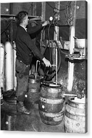 A Brewmeister Fills Kegs At A Bootleg Acrylic Print by Everett