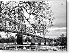 A Bridge In Winter Acrylic Print by Olivier Le Queinec