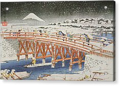A Bridge In Yedo With Mount Fuji In The Background Acrylic Print by Hiroshige
