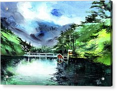 Acrylic Print featuring the painting A Bridge Not Too Far by Anil Nene