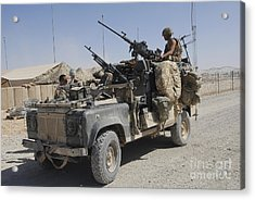 A British Armed Forces Land Rover Acrylic Print by Andrew Chittock