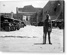 A British Soldier In Front Of Nativity Church Acrylic Print by Munir Alawi