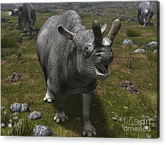 A Brontotherium Leaves His Forest Acrylic Print by Walter Myers