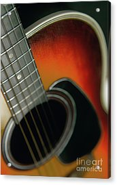 Acrylic Print featuring the photograph  Guitar  Acoustic Close Up by Bruce Stanfield