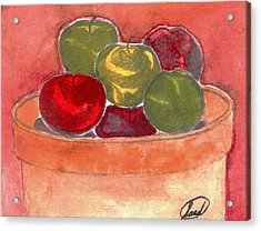 Acrylic Print featuring the painting A Bucket Full Of Apples by Saad Hasnain