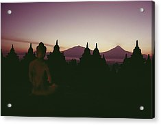 A Buddha Sits In The Acrylic Print by Dean Conger