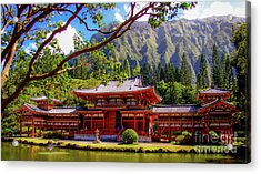 Acrylic Print featuring the photograph Buddhist Temple - Oahu, Hawaii - by D Davila