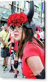 A Bull Awaits Her Next Runner Acrylic Print