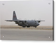 A C-130 Hercules Aircraft Taxis Acrylic Print by Terry Moore