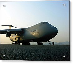 A C-5 Galaxy Sits On The Flightline Acrylic Print by Stocktrek Images
