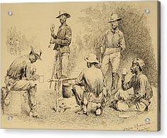 A Campfire Sketch Acrylic Print by Frederic Remington