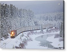 A Canadian Pacific Train Travels Along Acrylic Print by Chris Bolin