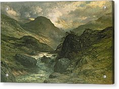 A Canyon Acrylic Print by Gustave Dore