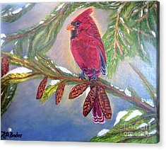 A Cardinal's Sweet And Savory Song Of Winter Thawing Painting Acrylic Print by Kimberlee Baxter