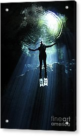 A Cavern Diver Ascends In The Cenote Acrylic Print by Karen Doody