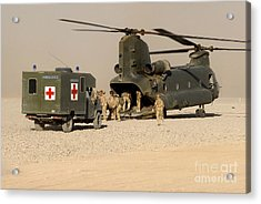 A Ch-47 Chinook Helicopter Drops Acrylic Print by Andrew Chittock