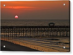 A Charleston Sunrise On The Pier Acrylic Print by Michael Whitaker