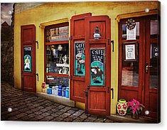 A Charming Little Store In Bratislava Acrylic Print by Carol Japp