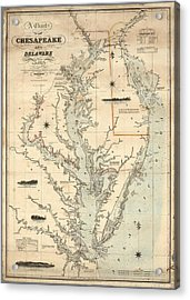 A Chart Of The Chesapeake And Delaware Bays 1862 Acrylic Print