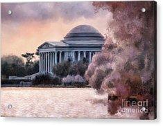 Acrylic Print featuring the digital art A Cherry Blossom Dawn by Lois Bryan