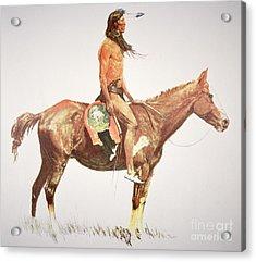 A Cheyenne Brave Acrylic Print by Frederic Remington