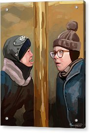 A Christmas Story Tongue Stuck To Pole Acrylic Print