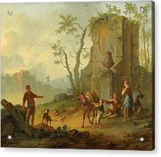 A Classical Landscape With A Family Resting By The Ruins Acrylic Print