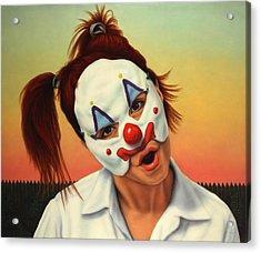 A Clown In My Backyard Acrylic Print by James W Johnson