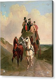 A Coach And Four On An Open Road  Acrylic Print by William Snr Shayer