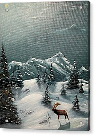 Acrylic Print featuring the painting A Cold Montana Night by Al  Johannessen