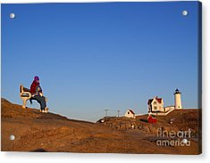 A Cold Winter Day At The Lighthouse Acrylic Print by David Bishop